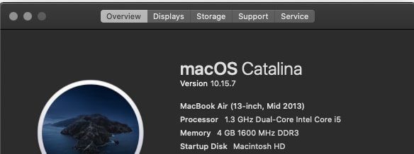 screenshot of About this Mac popup: macOS Catalina 10.15.7, MacBook air (13-inch, Mid-2013)