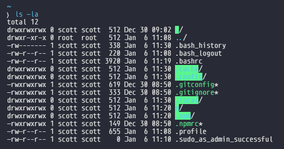 bash files wrong permissions