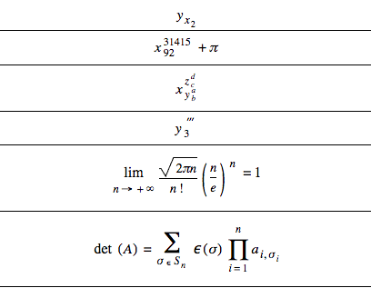 MathML example