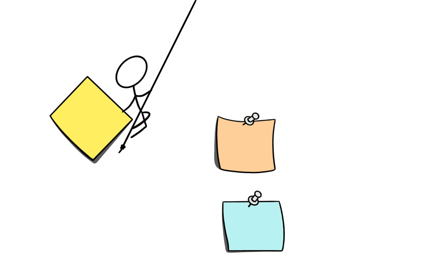 A cartoon of a stick figure swinging on a rope ro plant a post-it note