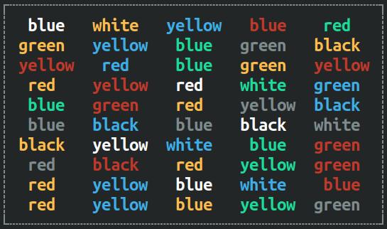 Color word box - incongruent stimulus