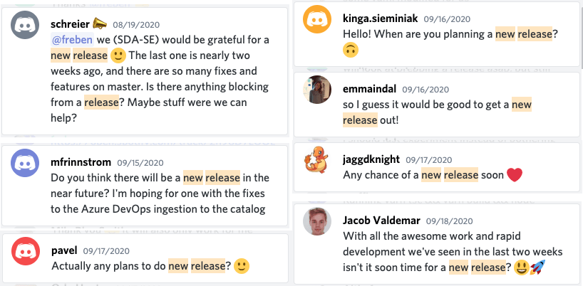 screenshots of discord messages where people are asking when the new release will be ready