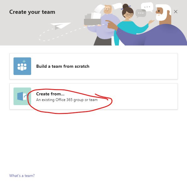 create a team from an existing site
