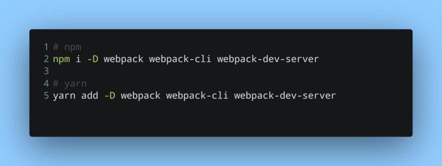 Installing webpack and webpack server