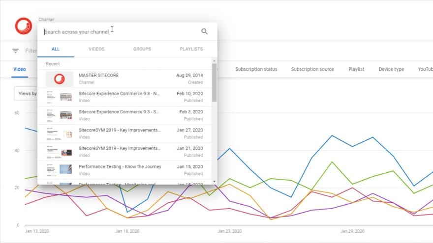 Screenshot of search modal