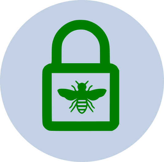 The logo for OWASPHeaders.Core - a green outline of a wasp, a green outline of a padlock, on a grey background