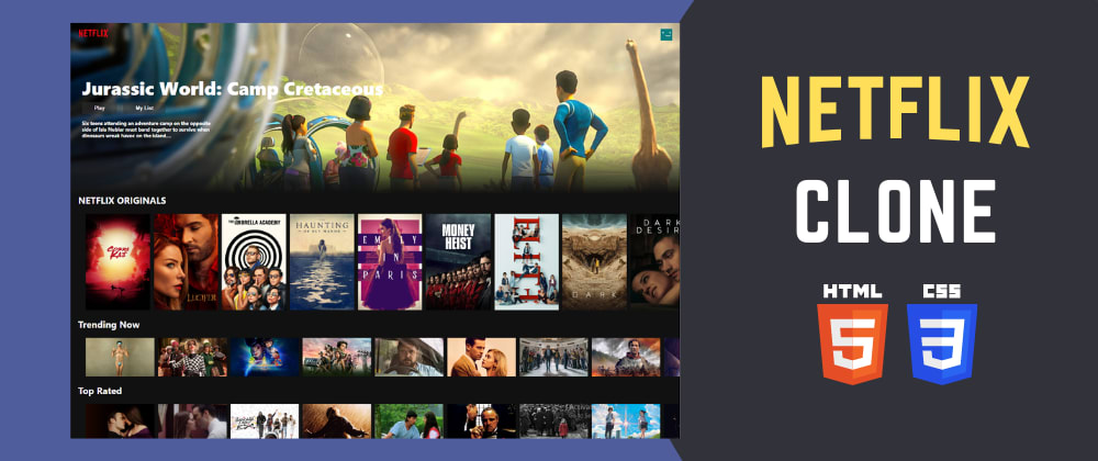 Cover image for 🔴 Build NETFLIX Clone using HTML and CSS (RESPONSIVE)