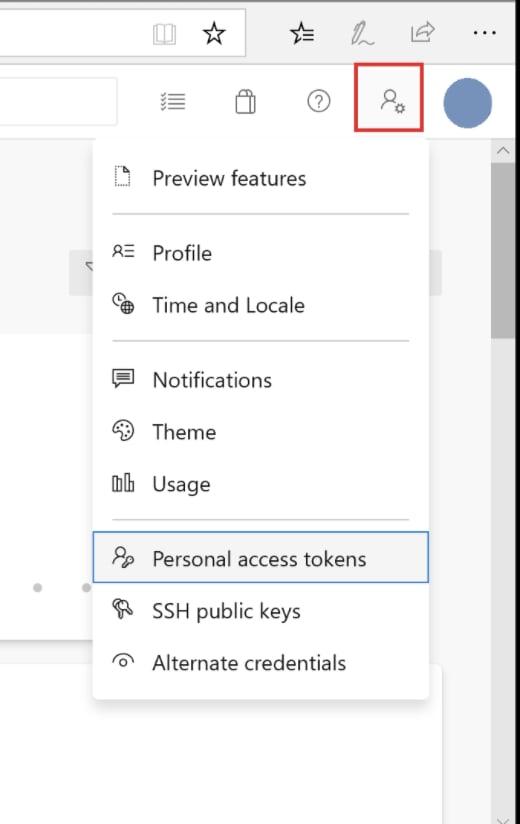 User settings dropdown menu indicating where to select Personal access tokens