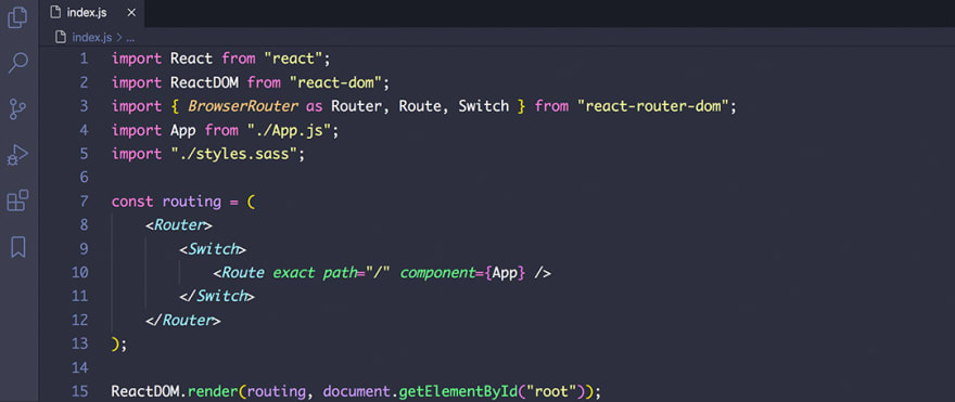 React code snippet with the Dracula theme