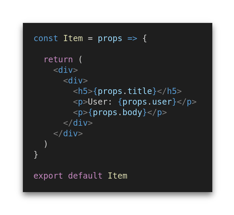 A simplified Item component