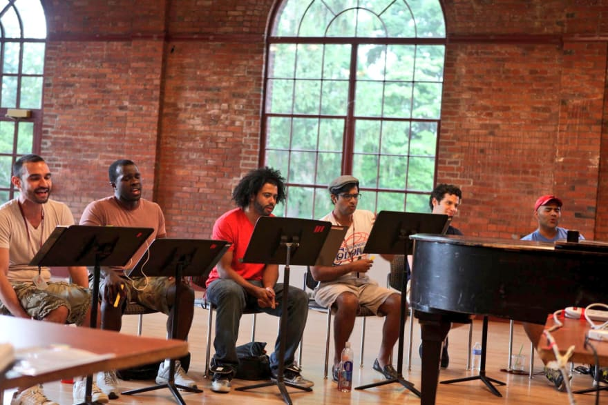 the Hamilton cast in workshop mode at Vassar College