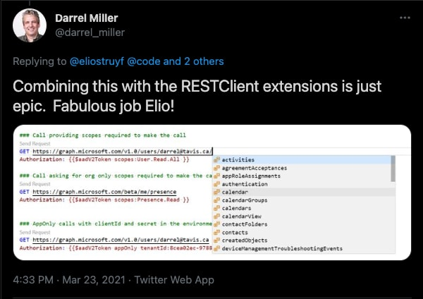 Using it in combination with the Rest Client in VSCode mentioned by Darrel Miller