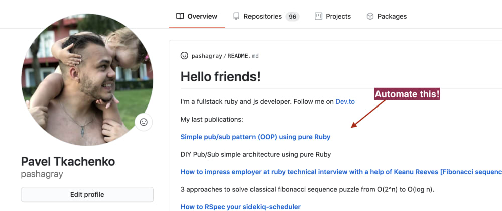 Cover image for GitHub auto README with ruby, github-actions and dev.to API