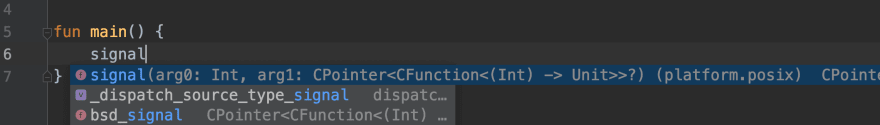 signal function from platform.posix in IntelliJ