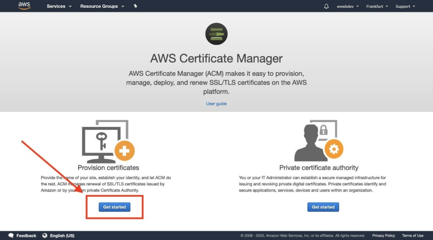 certificate get started page
