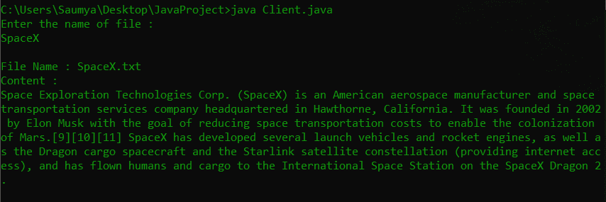 File System Client Side Java