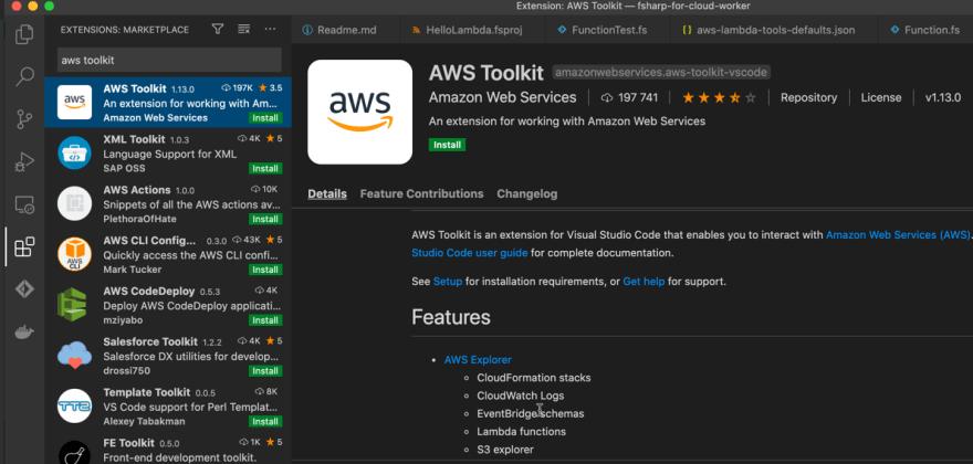 Install AWS Toolkit extension