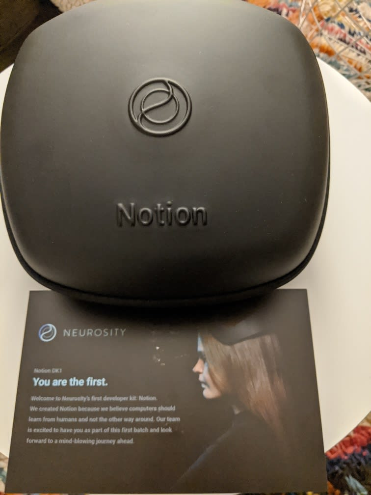 Notion's case with the flyer that came with DevKit.