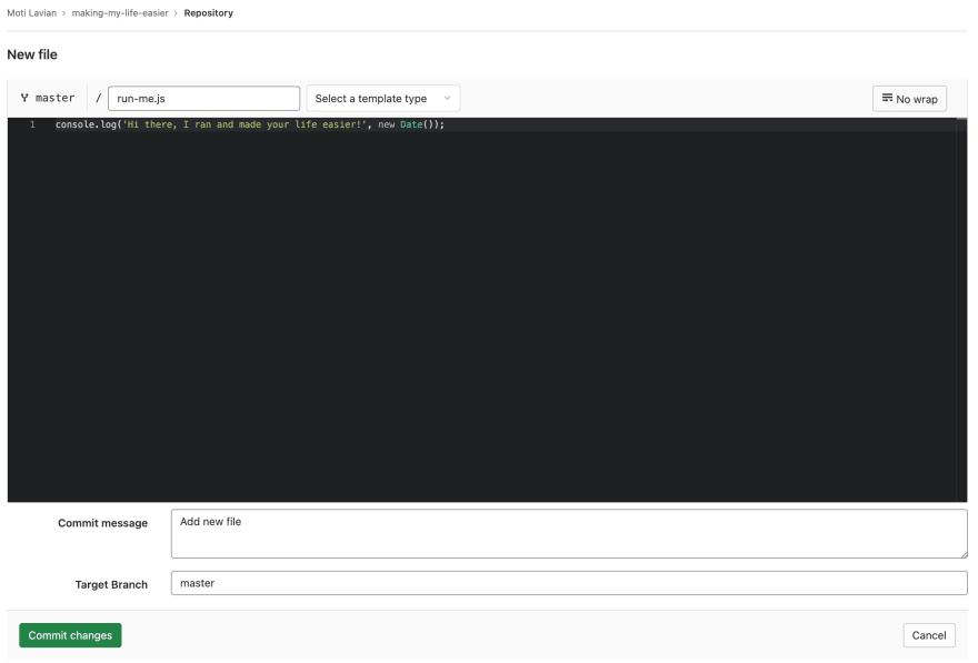 Entering the task's code on gitlab.com