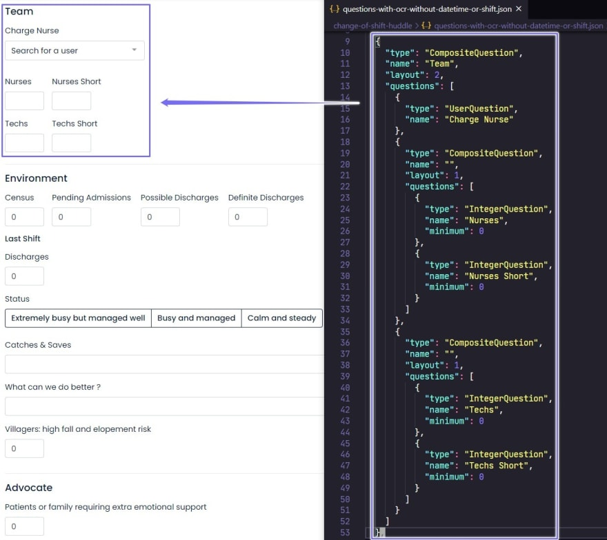 Define questions in JSON