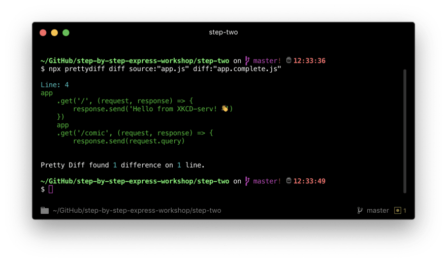 """What a terminal looks like after a participant runs `npx prettydiff diff source:""""app.js"""" diff:""""app.complete.js""""` in the step-two directory"""