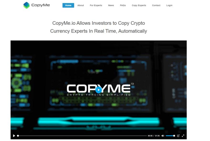 COPYMECopyMe is a copy trading platform. The image of Copyme main page.