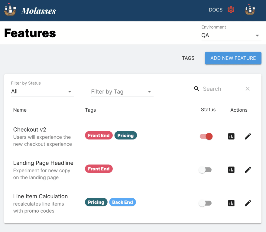 The Molasses dashboard of feature flags