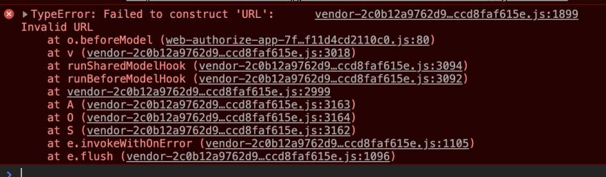 Console error of Apple authentication page with error about invalid URL