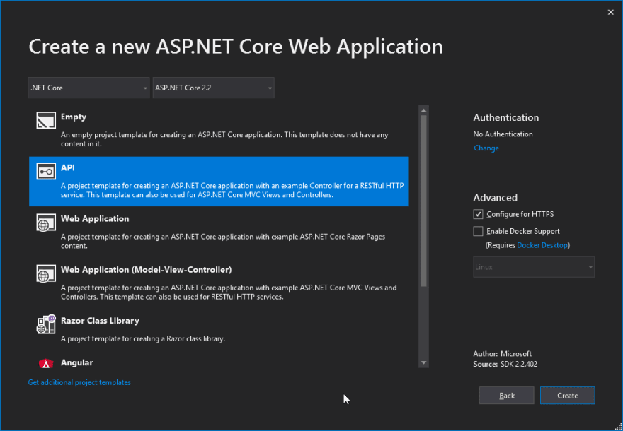 Create a new ASP.NET Core Web Application prompt