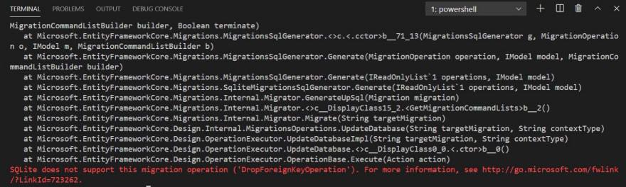 DropForeignKeyOperation Error