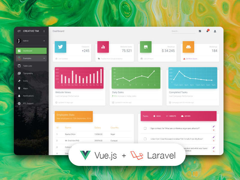 Vue Material Dashboard Laravel
