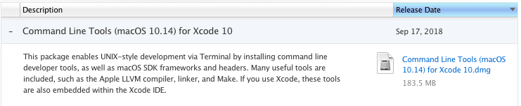 Command Line Tools download option