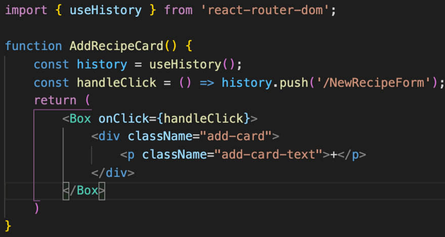 AddRecipeCard component