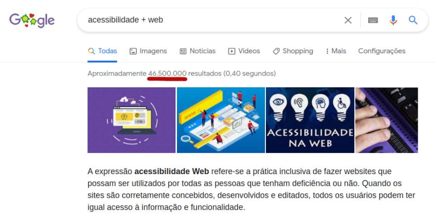 Ocorrências das palavras acessibilidade + web no buscador do Google: mais de 46 milhões