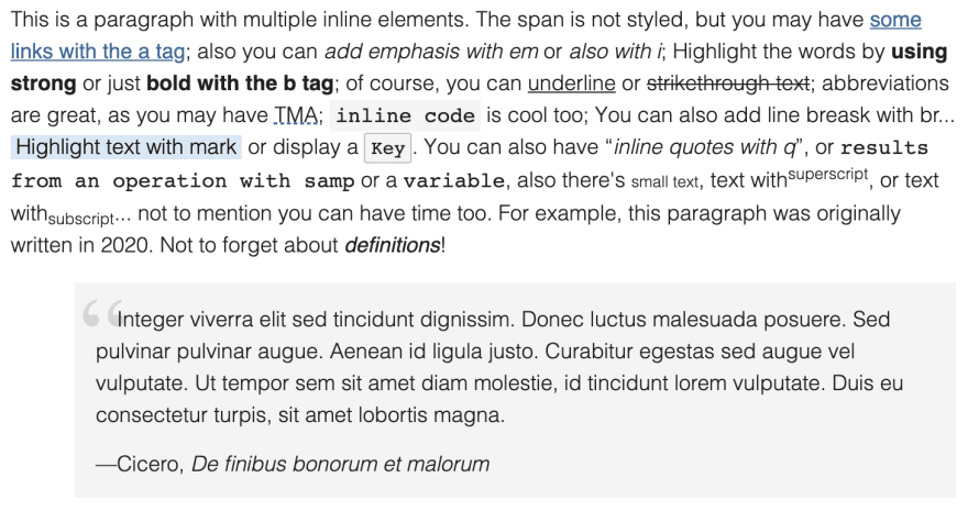 Inline elements on Almond.CSS