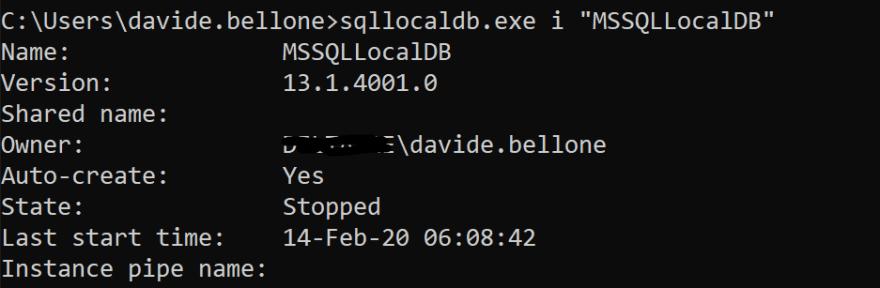 SQL instance details