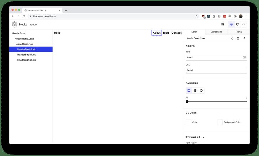 Screenshot of Blocks UI in action