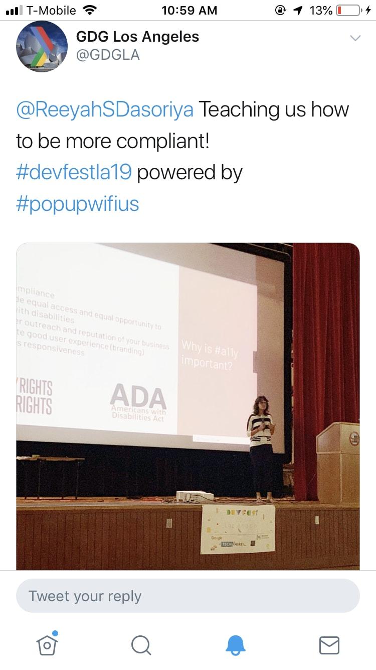 Riya speaking in Los Angeles