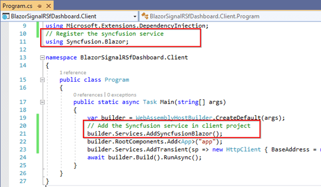 Integrate the Syncfusion service in the program.cs file for Syncfusion component deployment