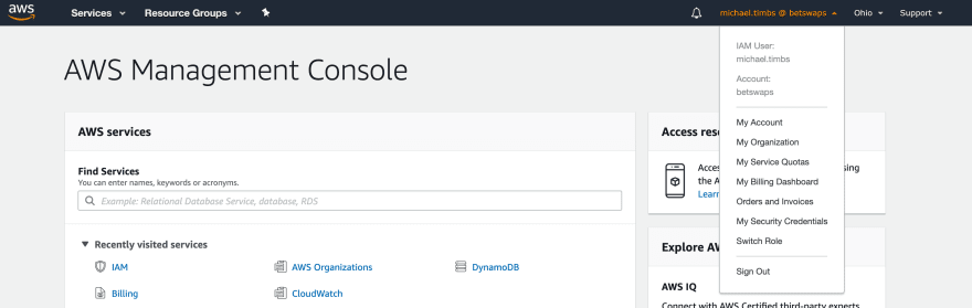 AWS Console — IAM user login with Switch Role