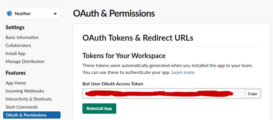 Slack OAuth & Permissions