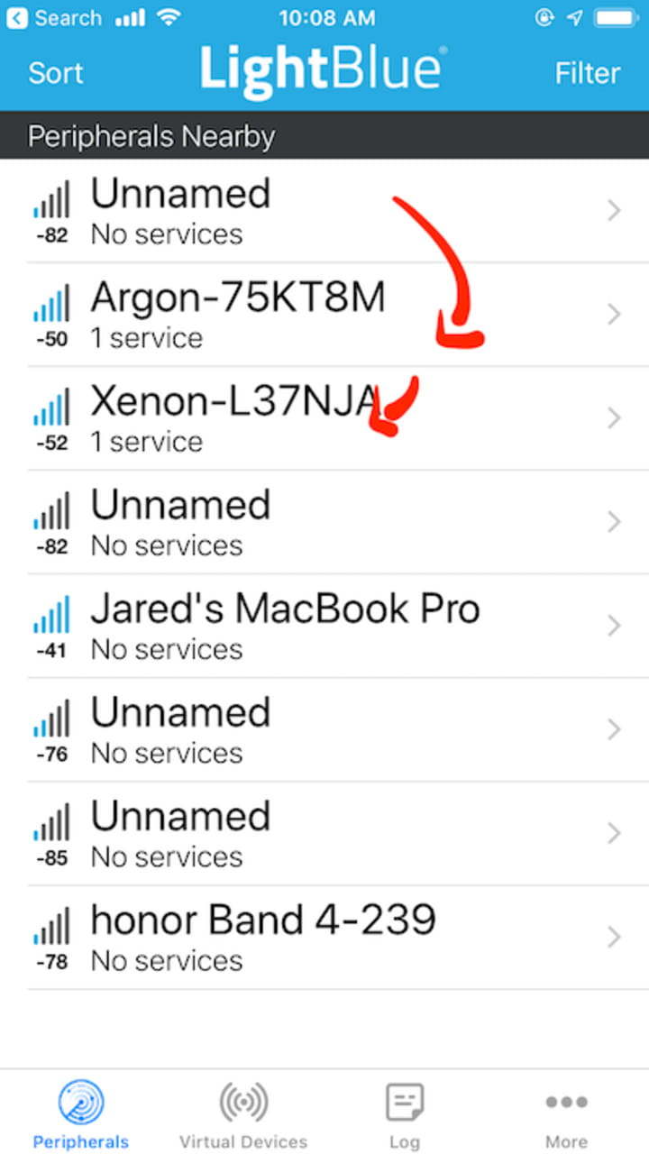 Select either the Argon or Xenon