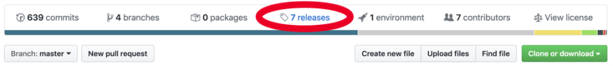 The Releases tab is in among all the others at the top of the file list