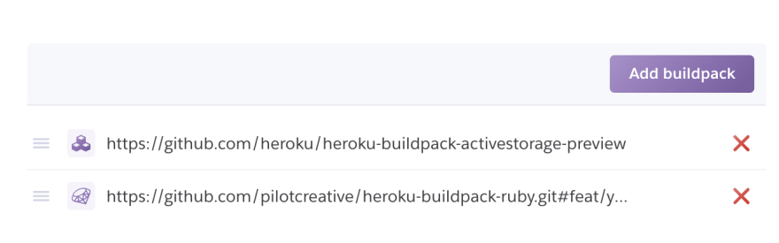 Heroku buildpacks of one of our apps