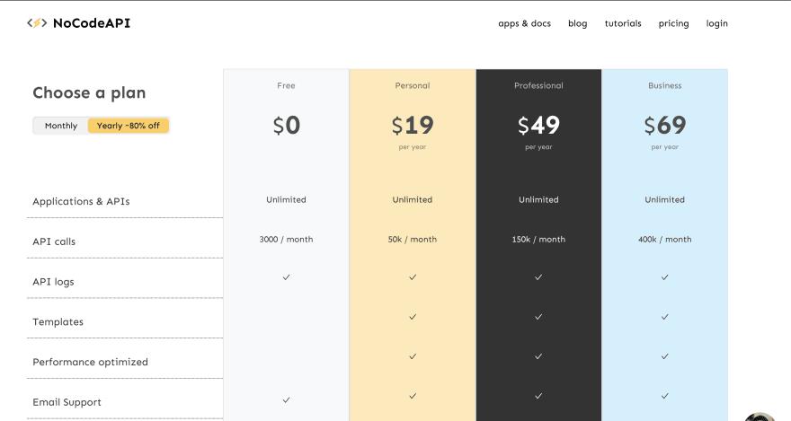 NoCodeAPI pricing
