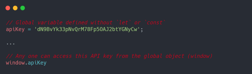 Sensitive data can be accessed from the global object (window)