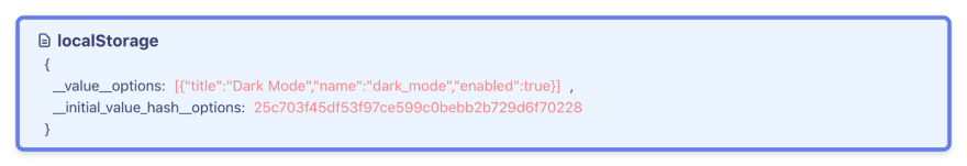 usePersistedState stores a unique hash to keep track of initial value changes