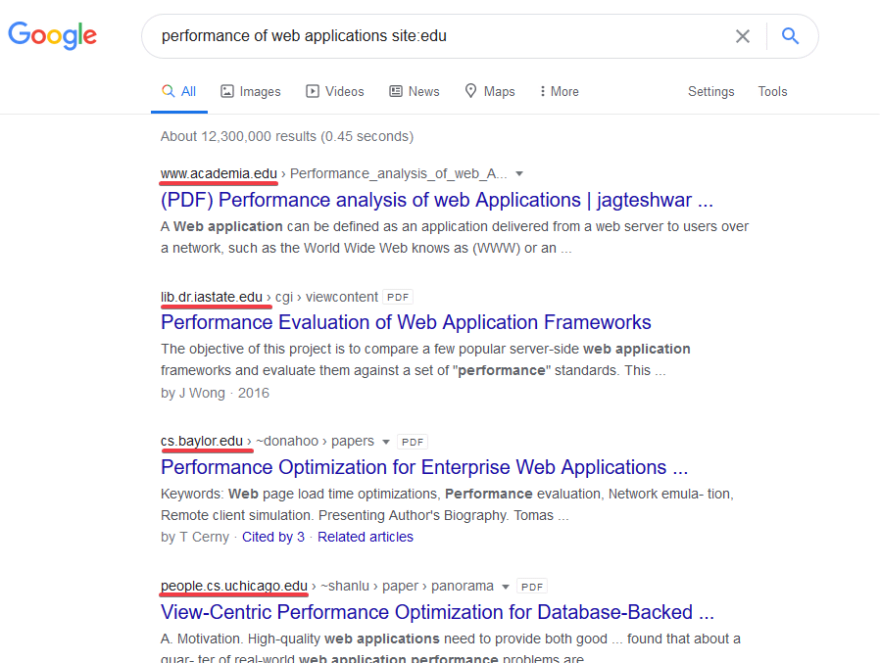 Google search results for performance of web applications