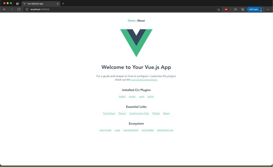 Vue Default Landing page