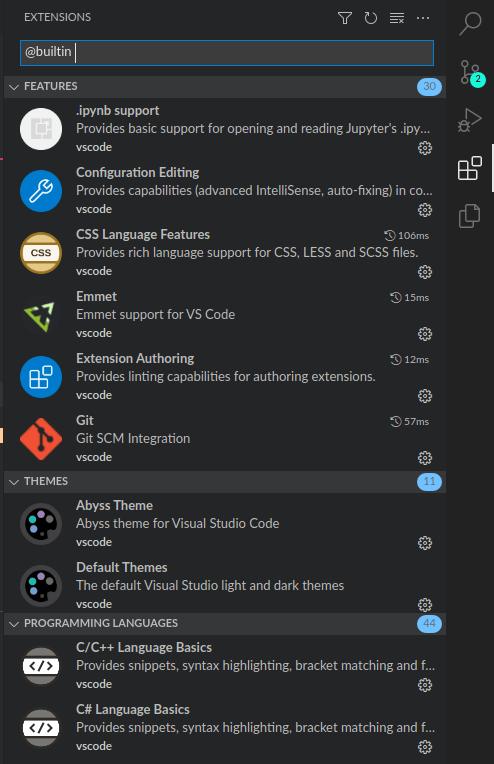 builtin extension list